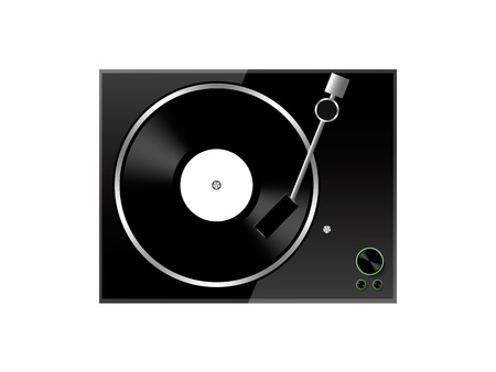 turntables: modern simple pick-up player isolated on white backgound Illustration