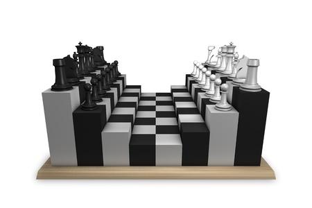 unconventional: non convenzionali concetti di tavolo di scacchi Archivio Fotografico