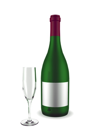 unopened: 3d rendered green unopened  wine bottle with glass on white background