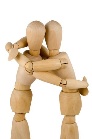 wooden figure: wodden dumies hug