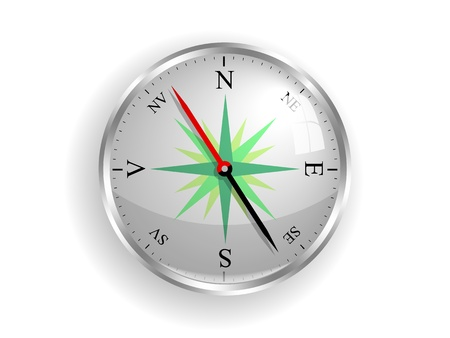 romanian: shiny compass with V from vest notation for west for romanian, icelandic, norwegian, danish etc  language