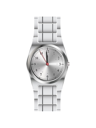 shiny wristwatch showing last minute isolated on white background Stock Vector - 13590927