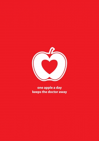 embedding: minimalist illustration with apple embedding heart in place of seeds and replaceable text