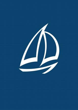 luxury yacht: stylized yacht  white on blue background