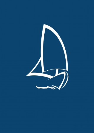 motor boat: stylized yacht  white on blue background