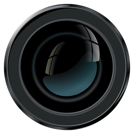 dslr: Camera lens viewed from front with free space for characteristics