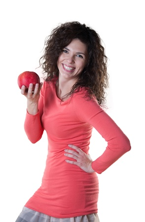heartiness: Beautiful woman holding an apple