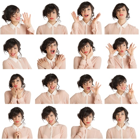 multiple image: Collage of a woman with different facial expressions on a white background Stock Photo