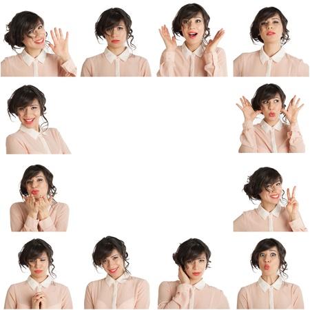 Collage d'une femme avec différentes expressions du visage sur un fond blanc Banque d'images - 19563754