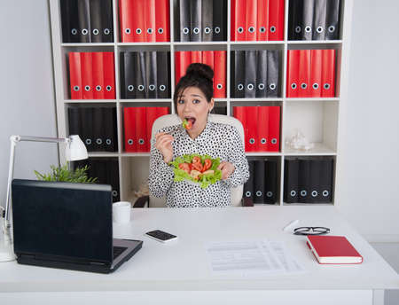 Lunch business woman in the office photo