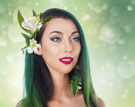 mermaid with green hair with flowers Alstroemeria photo