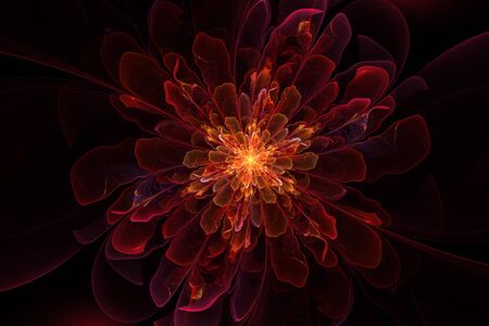 bright center: fractal multileaf fabulous flower with a bright center