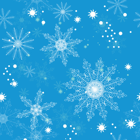napkins: Seamless pattern of delicate white snowflakes on a blue background. For greeting card, greeting cards, wrapping paper, gift packaging, napkins.