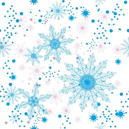 napkins: Seamless pattern with openwork snowflakes on a white background. For greeting card, greeting cards, wrapping paper, gift packaging, napkins. Illustration