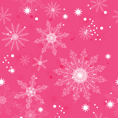 napkins: Seamless pattern of delicate white snowflakes on a pink background. For greeting card, greeting cards, wrapping paper, gift packaging, napkins. Illustration