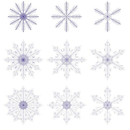 fabulous: Set of fabulous snowflakes. 9 beautiful symbols.