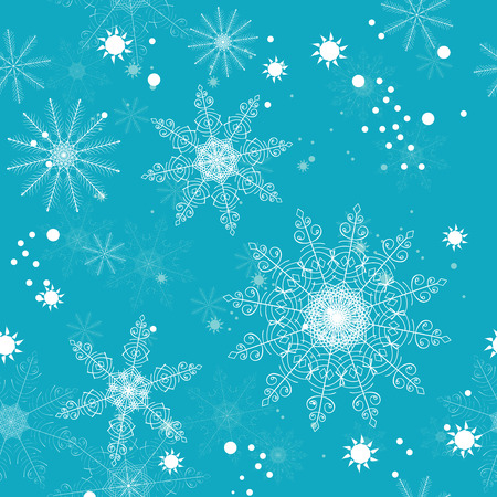 Seamless pattern of delicate white snowflakes on turquoise background. For greeting card, greeting cards, wrapping paper, gift packaging, napkins. Illustration