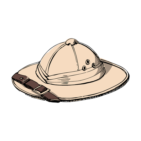 Explorer's hat Illustration on white background.