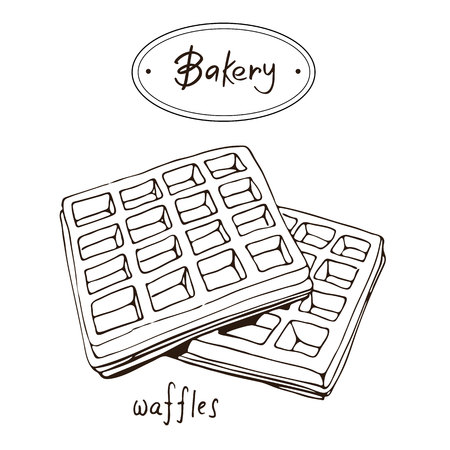 Bakery products hand drawing Waffles with black outlines Illustration