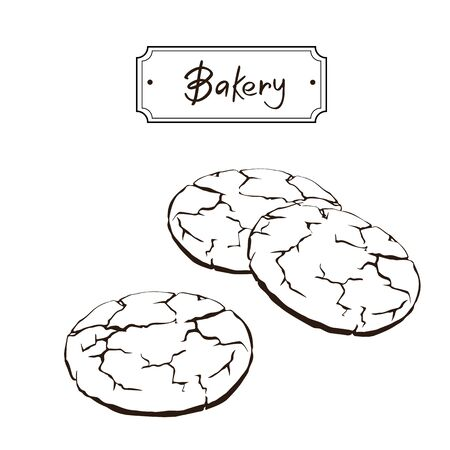 Bakery products hand drawing set of elements: Waffles, Madeleine, Croissant, Petites sables, Canela , Churros, Paris Brest, Eclair, Pavlova etc with black outlines Illustration