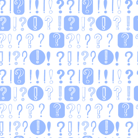 Vector hand drawn pattern on white background of question and exclamation marks with black outlines