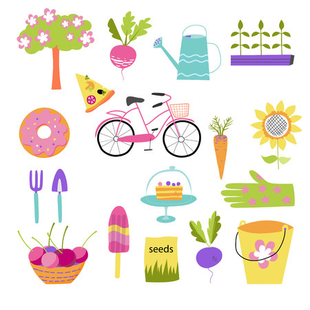 Spring icons set, flat style. Gardening cute collection of design elements, isolated on white background. Nature clip art. Vector illustration Çizim