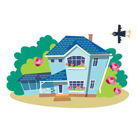 Color image of a summer house, flat style. Gardening cute illustration of design elements, isolated on white background.
