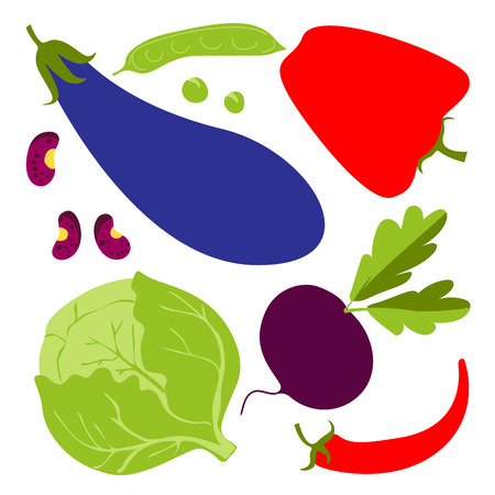 Set with cute colorful d vegetables. Vegetables flat icons set: beet, carrot, cabbage, radish, eggplant, peas, beans, broccoli . Ilustracja