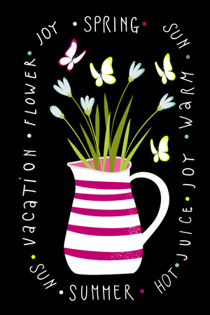 A jug with a bouquet of flowers on black background