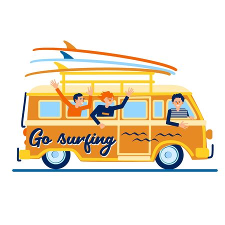 Funny guys in the car go surfing. Men are smiling and waving from the car window. Surfboards are being carried on the trunk. Color vector image in the style of flat.