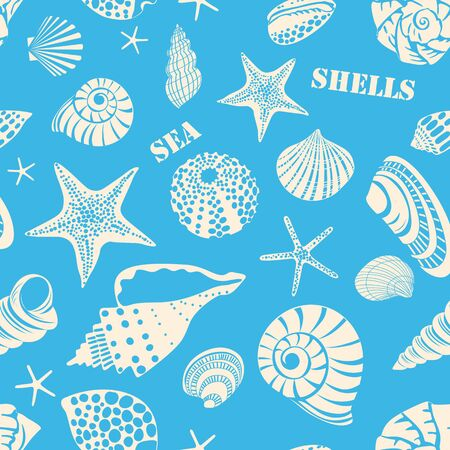 Pattern of different black sea shells and starfish. White outline on blue background
