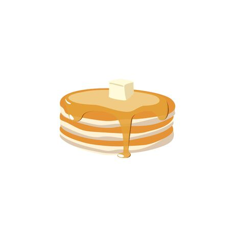 Stack of pancakes with maple syrup and piece of butter. Hand drawn vector illustration. Vector Illustration