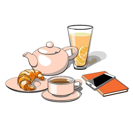 Coffee break, lunch, Breakfast, croissant. Cup, glass of lemonade, notebook, phone .Hand drawn vector illustration design isolated on white background. Ilustração