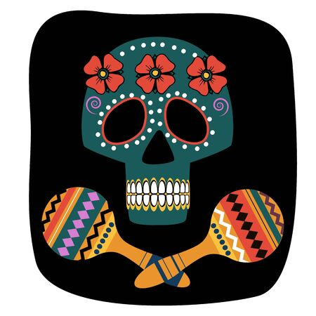 Skull in a floral wreath with maracas , hand lettering Day of the dead. Color vector image for logos, invitations, postcards and more Çizim