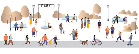 Parents and children, people with disabilities, elderly and young people spend time outdoors: jogging, walking , chatting, riding bicycles, walking with dogs Flat cartoon vector illustration. Ilustração