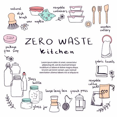 Hand drawn elements of zero waste kitchen life in vector