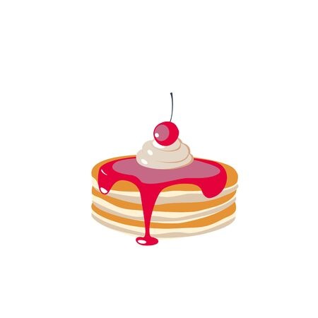 Stack of pancakes with syrup, whipped cream and berries. Hand drawn vector illustration. Ilustração