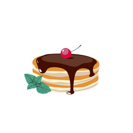 A stack of pancakes with chocolate syrup and mint . Hand drawn vector illustration.