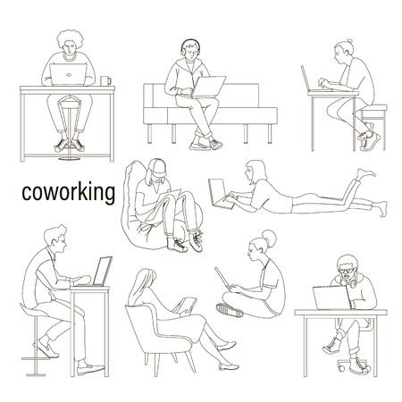 Line drawing of people outside the office in coworking.