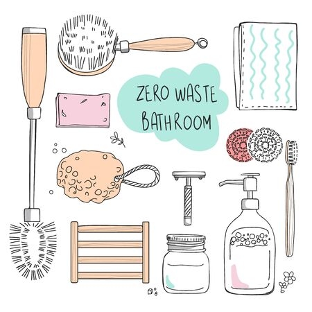 Set of vector elements, eco, green and zero waste lifestyle for bathroom cosmetics, hygiene, tooth brushing. For shop, article, website, illustration, infographic template.
