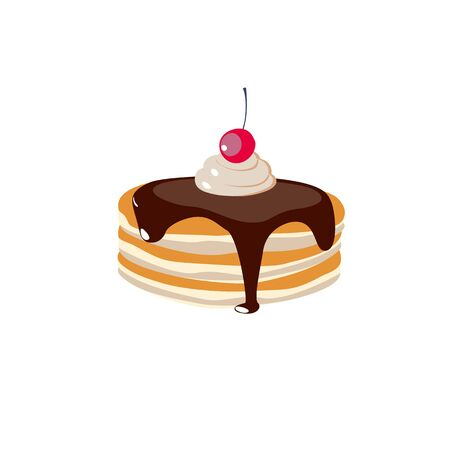 A stack of pancakes with chocolate syrup and whipped cream . Hand drawn vector illustration. Ilustração