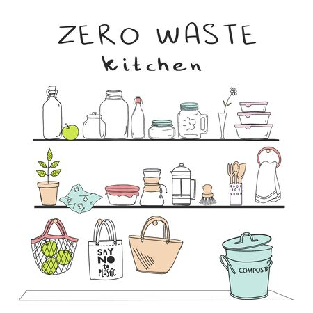 Hand drawn elements of zero waste kitchen life in vector. Shelves with dishes, bags on hooks. Eco style. No plastic. Go green. Vector background with space for your text.