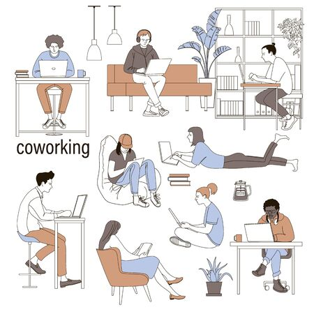 Coworking people colored isolated icons set with creative freelancers meeting together in coworking center. Hand drawn vector illustration