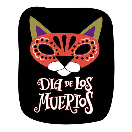 Cat with black eye sockets, hand lettering Day of the dead. Color vector image for logos, invitations, postcards and more Ilustração