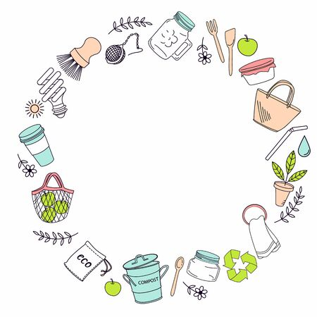 Hand drawn elements of zero waste life in vector. Eco style. No plastic. Go green. Vector background with space for your text. Ilustração