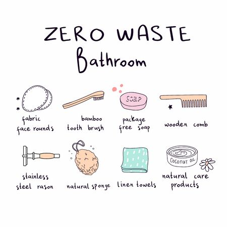 Set of vector elements, eco, green and zero waste lifestyle for bathroom cosmetics, hygiene, tooth brushing. For shop, article, website, illustration, infographic template. Stock fotó - 138291091