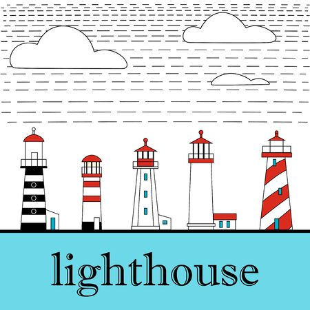Big set flat lighthouses isolated. Red, black, white lighthouse on water. minimalism. flat buildings icon. architecture objects. old and modern. low, high, small, big lighthouse.