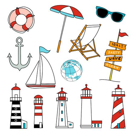 Summer Objects Icons Set, Equipment, Tool, Beach, Swimming, Sea, Vacations, Holiday, Lifestyle