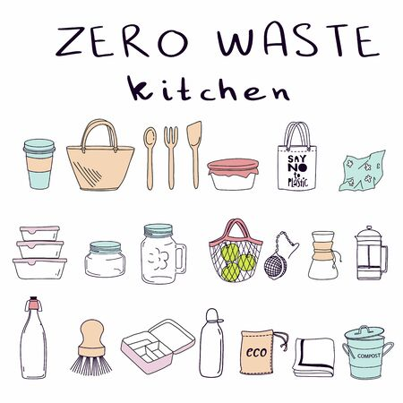 Hand drawn elements of zero waste kitchen life in vector. Eco style. No plastic. Go green