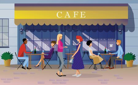 People drink wine in the summer in a street cafe. Girlfriends are talking on the street. Facade of a city cafe in a European city. Color vector image in a flat style. Ilustração